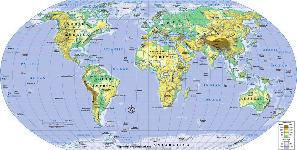 Geographical World Map with Coordinates