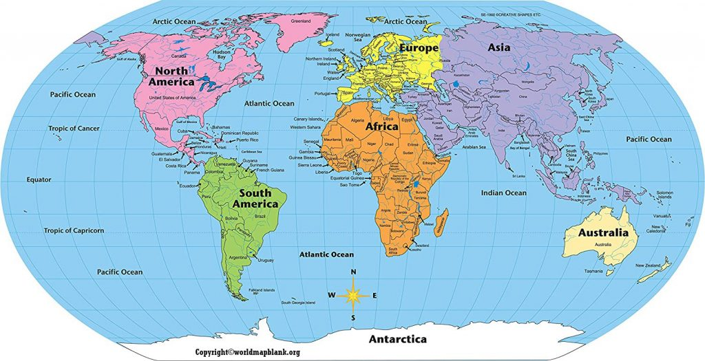 Labeled World Map with Countries