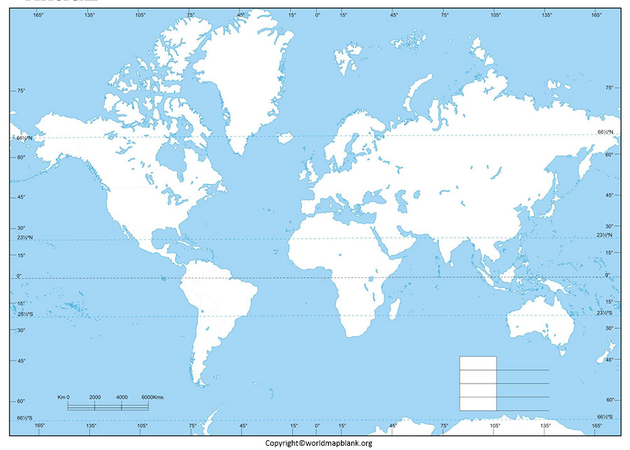 Physical Map of World Blank