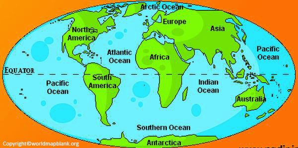 Physical World Map Continents and Oceans