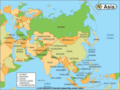 Labeled Asia Map with Countries