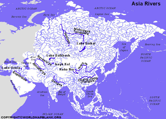 Asia Map of Rivers