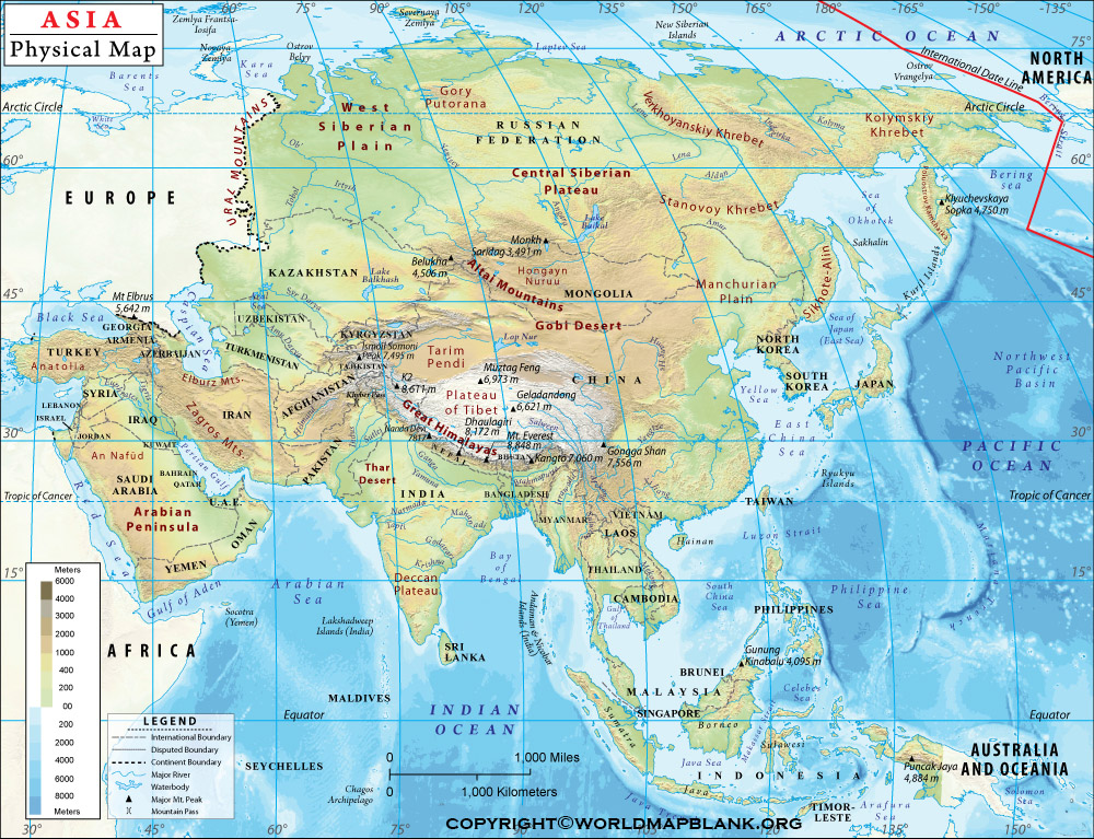 Printable Asia Physical Map