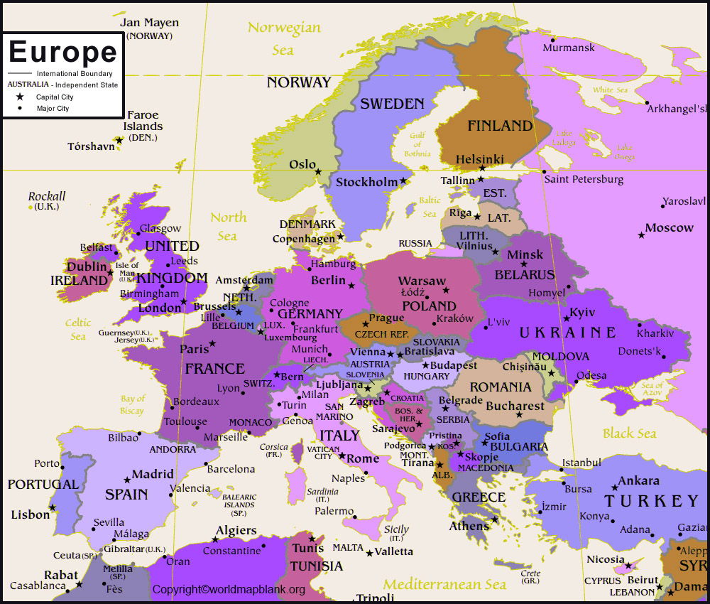 Europe Labeled Map