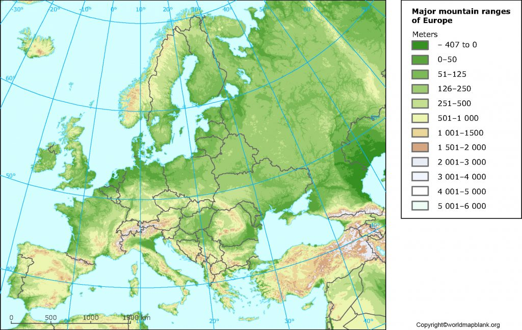 Labeled EuropeMapwith Mountains