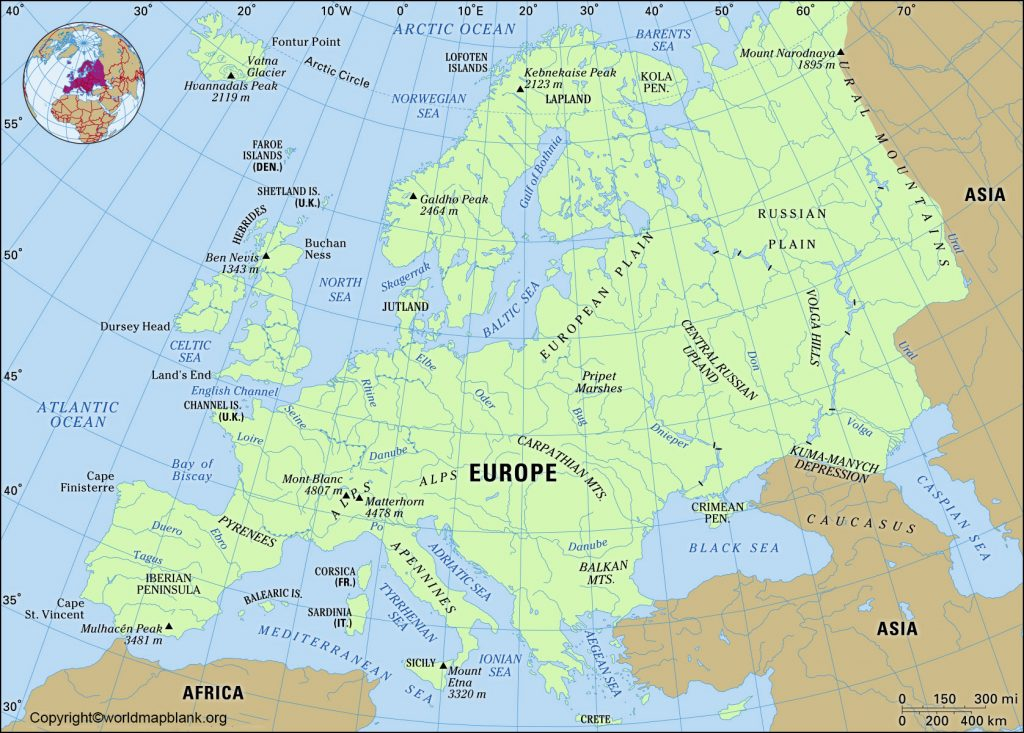 Printable Map of Europe Physical