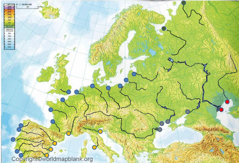 Europe Physical Map River