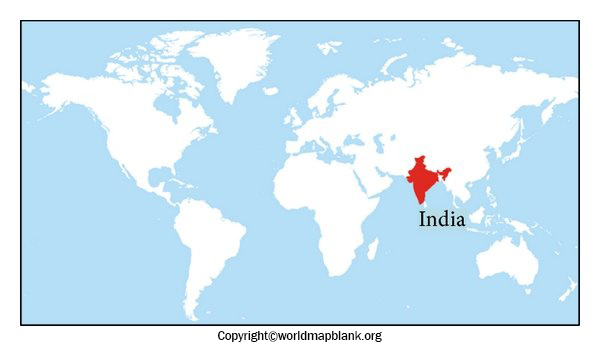 Location of India on World Map Labeled