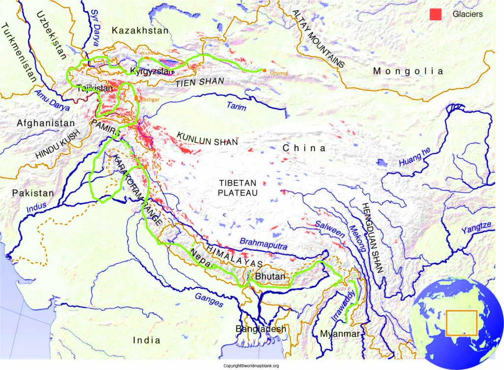Asia Map of Mountains