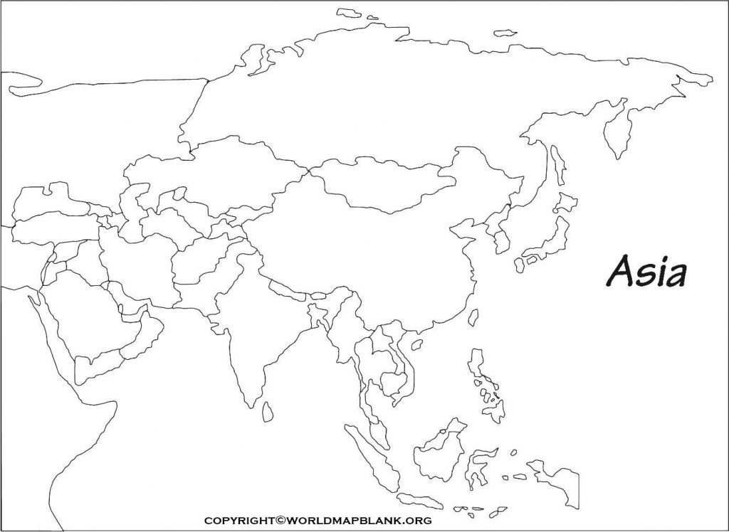 Printable Map of Asia