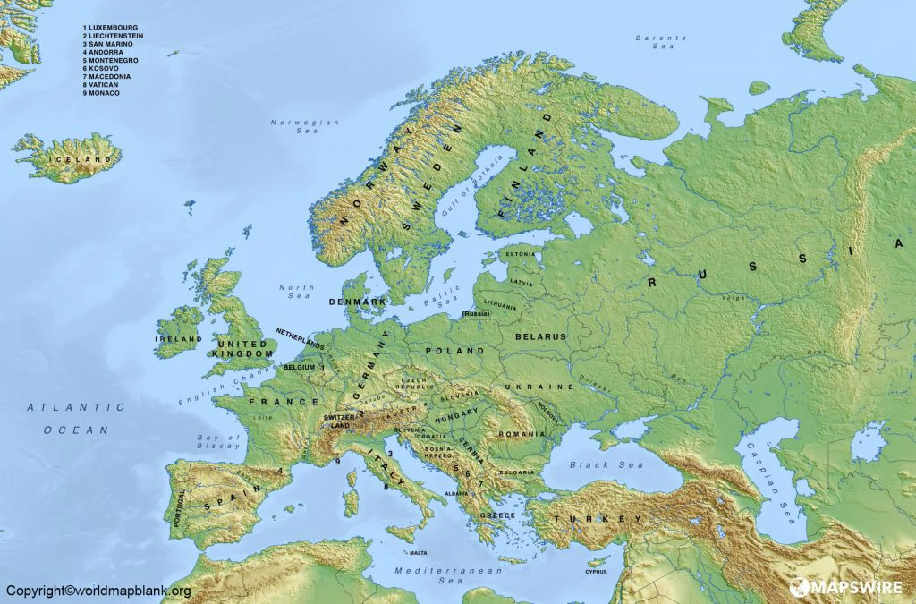 Labeled Europe Physical Map Mountains