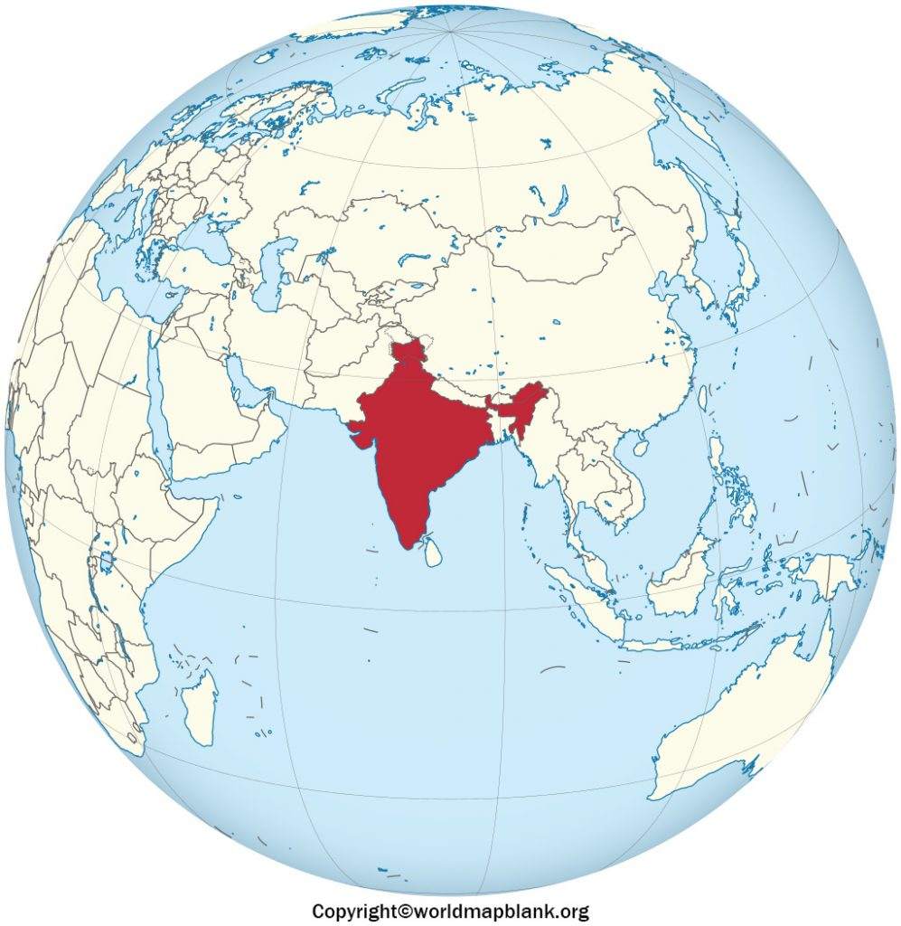Printable India on Map of World