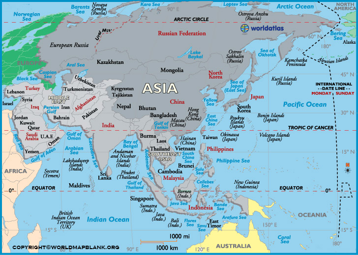 Printable Asia Labeled Map