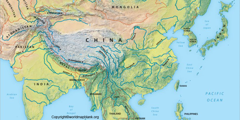 Printable Rivers Map of Asia
