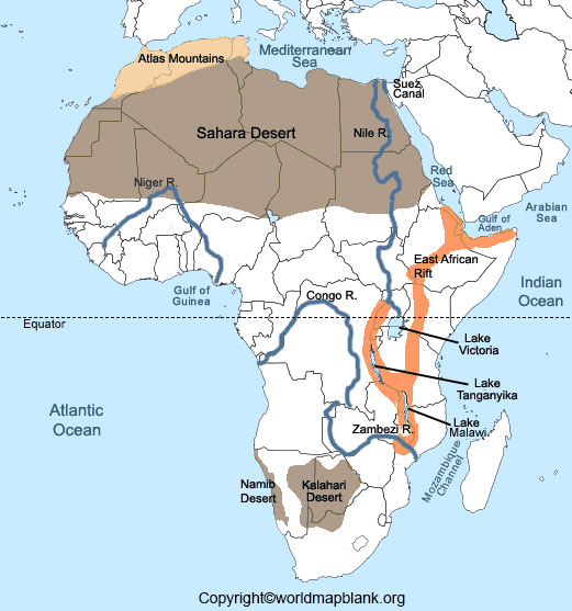Labeled Africa Map