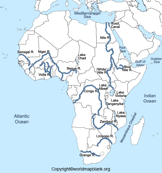 Africa Map with Rivers
