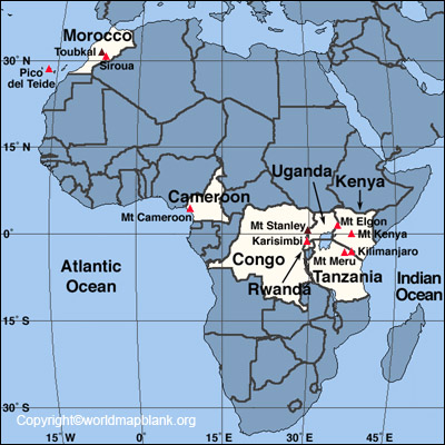 Map of Africa Mountains