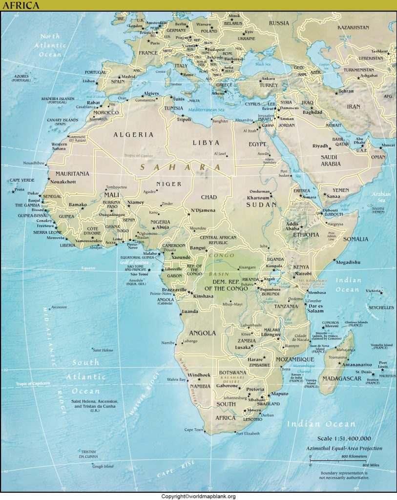 Printable Africa Political map