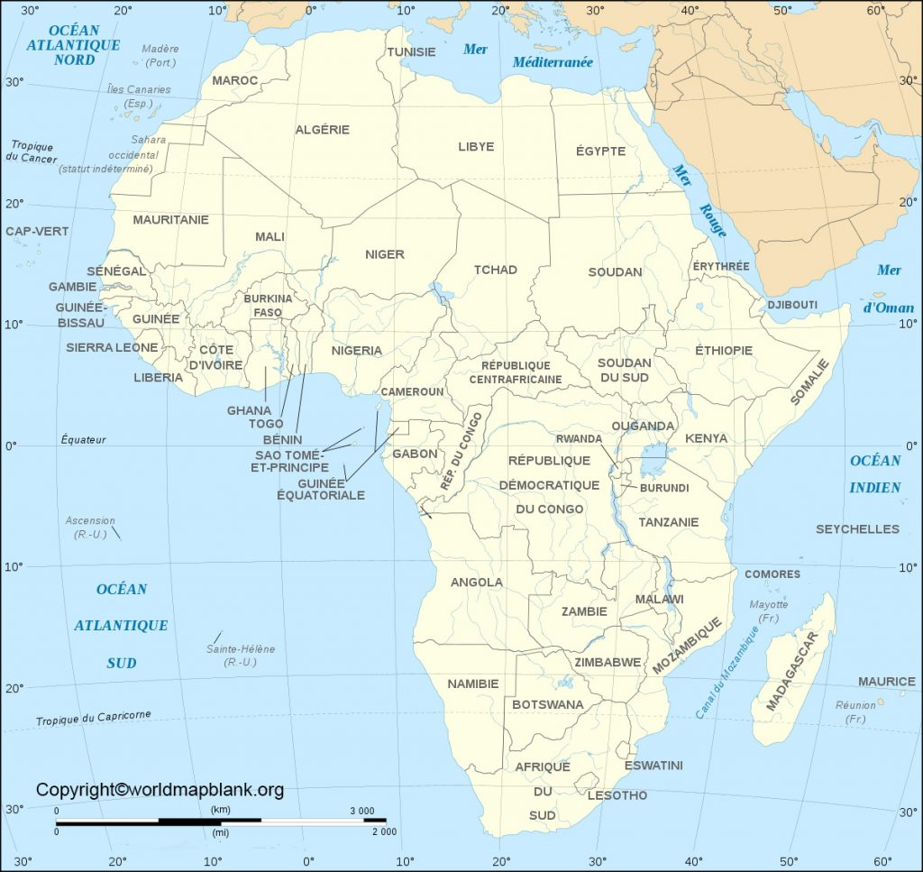 Printable Africa Labeled Map