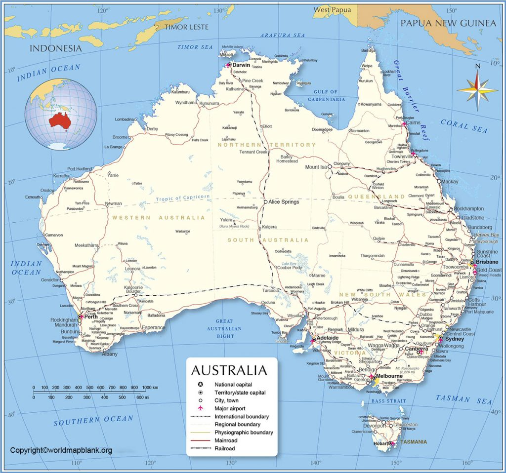 Map of Labeled Australia with States