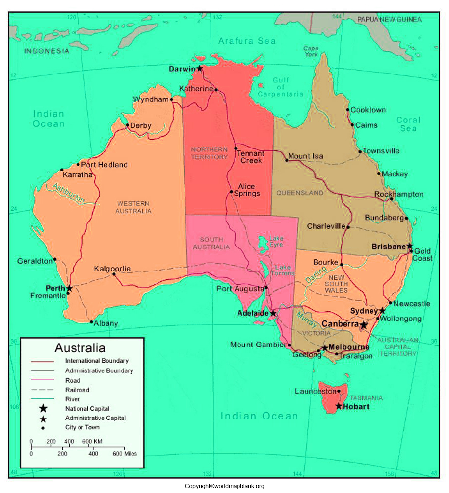 Printable Labeled Map of Australia