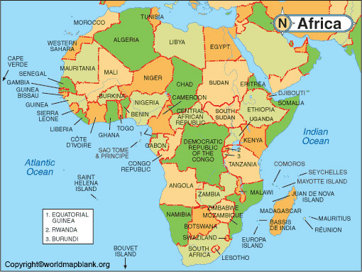 Map of Africa with Labeled Countries