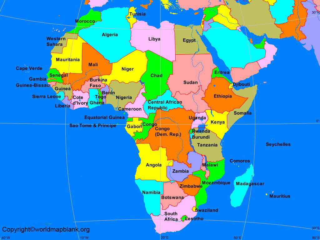 Africa Map Countries Name