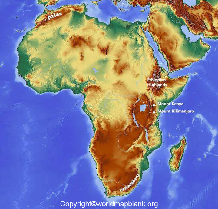 Africa Map with Mountains